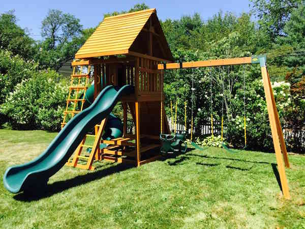Cedar-Swing-Set-with-Two-Slides