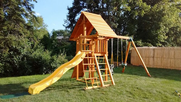 Playset-with-Wood-Roof-and-Yellow-Slide