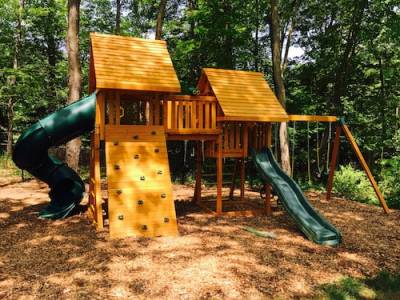 b2ap3_thumbnail_Wooden-Swing-Set-with-Spiral-Slide-on-Mulch-Play-Area