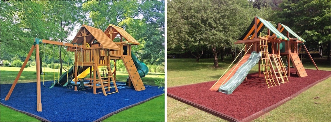 Cedar Swing Sets with Blue and Red Rubber Mulch