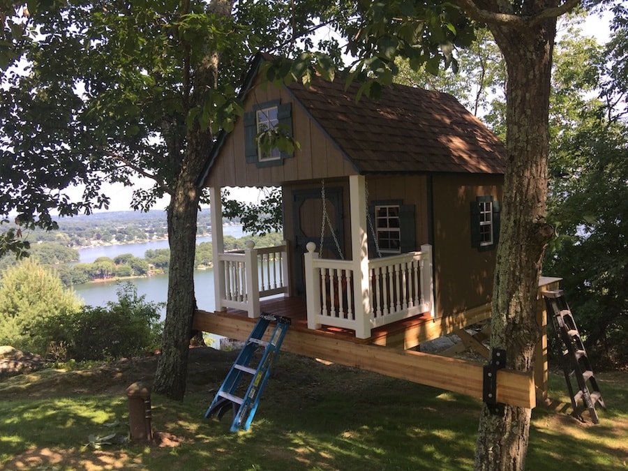 Wooden Playhouse Installed in Tree