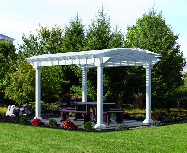 Arcadian Pergola in White Vinyl with Outdoor Picnic Table