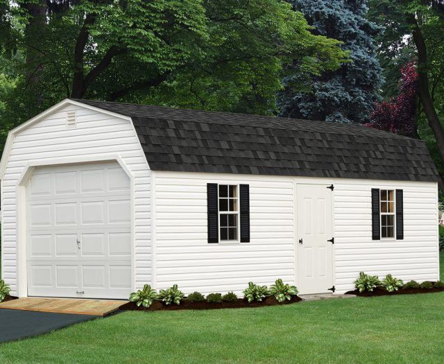 Backyard Dutch Barn Vinyl White with Garage Door and Ramp