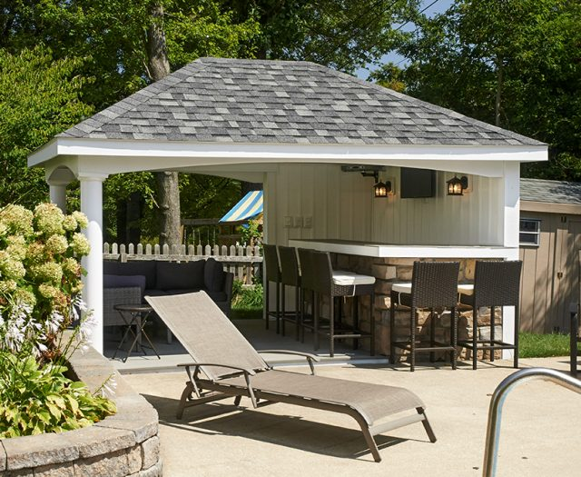 avalon pool house with entertaining area
