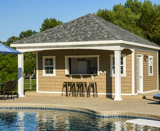 avalon pool house with indoor seating area