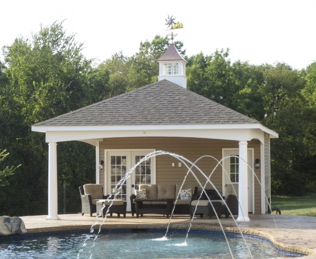 covered seating area under pool cabana