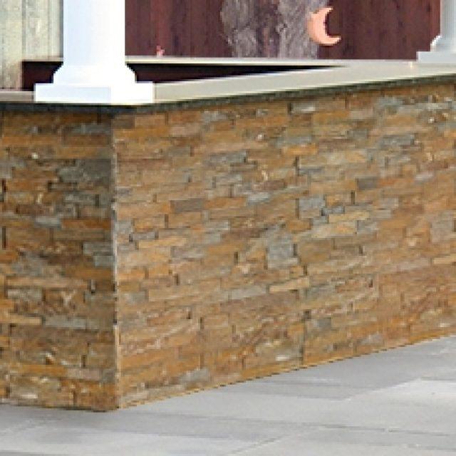 stone veneer bar front for luxury pool house