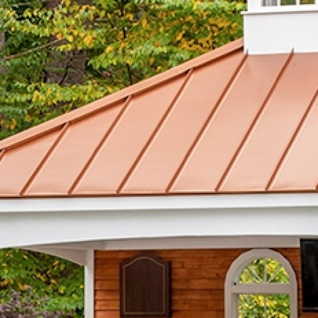 standing seam metal pool house roof installation