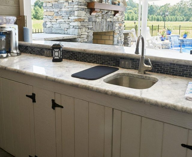 cabintet and countertop installation for pool house