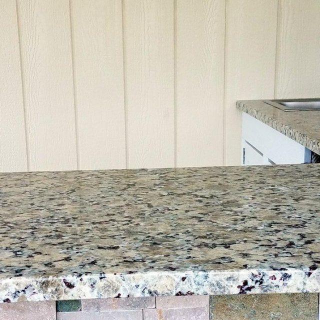 granite countertop installation on pool house bar