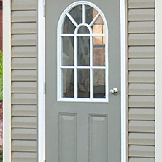 door with windows for outdoor pool house