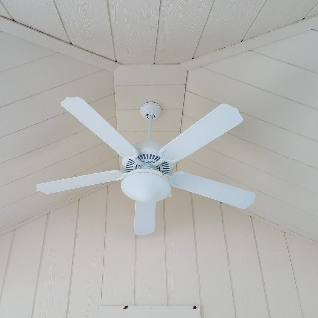 interior ceiling fan in new pool house