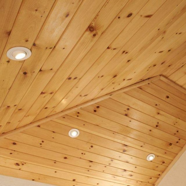 recessed ceiling lights inside new pool cabana