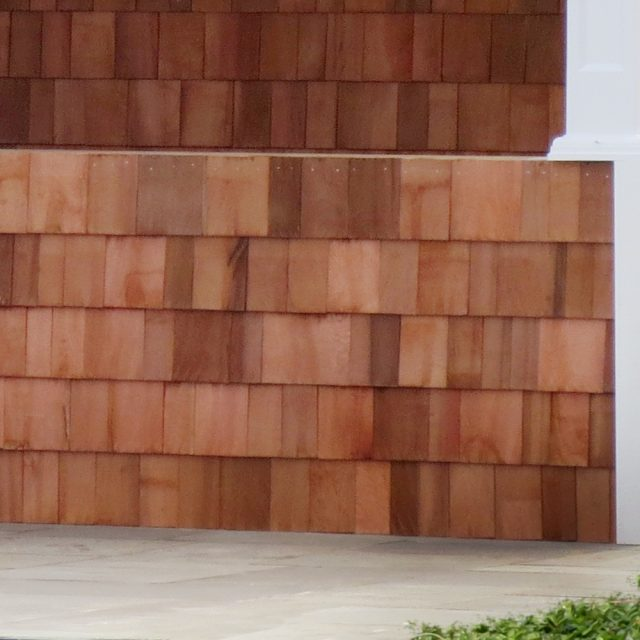 cedar shake siding on new pool house