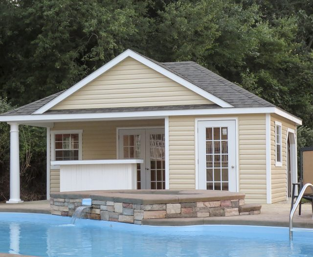 wellington pool house with bar