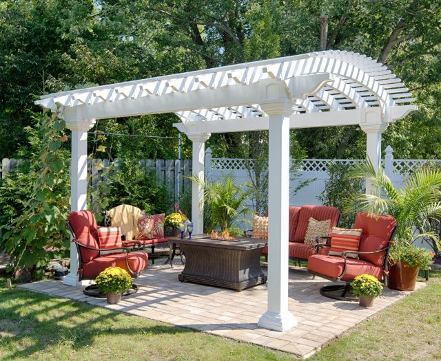10' x 14' Arcadian White Vinyl Pergola Outdoor Living Area