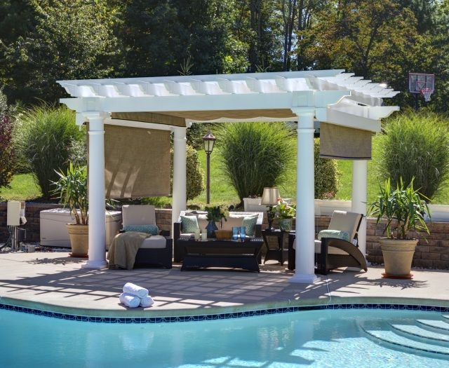 10' x 14' Artisan White Vinyl Pergola with 10 inch Round Column Posts