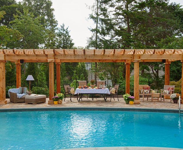 10 x 32 Artisan Cedar Pergola with 8x8 Cedar Posts Natural Wood