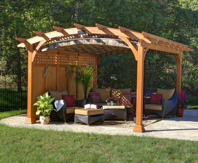 12x15 Hearthside Pergola in Canyon Brown Stain with Lattice Roof and Privacy Wall