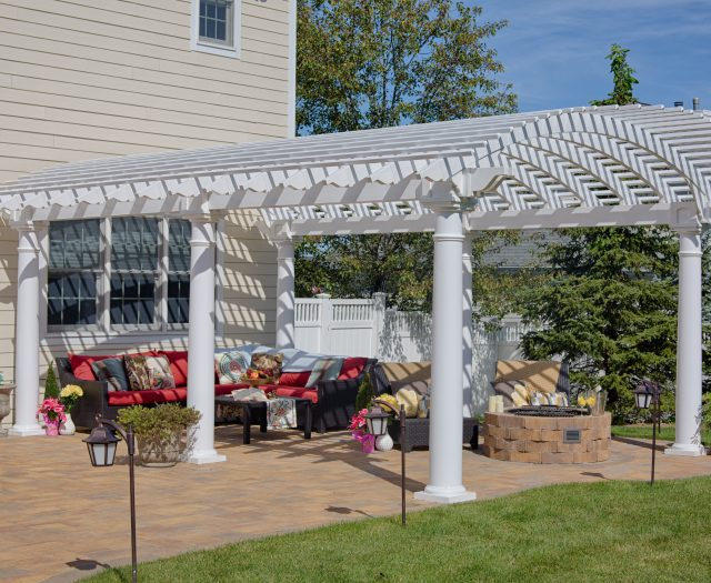 14' x 20' Arcadian White Vinyl Pergola with Large Round Columns and Custom Overhang