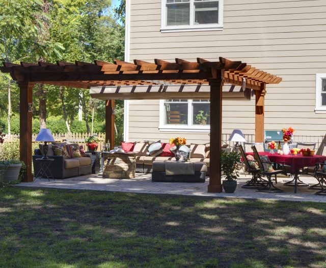 16' x 16' Artisan Hemlock Wood Pergola in Canyon Brown Stain