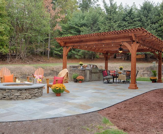 18'x22' Kingston Pergola in Canyon Brown Stain on a Patio Outdoor Living Room