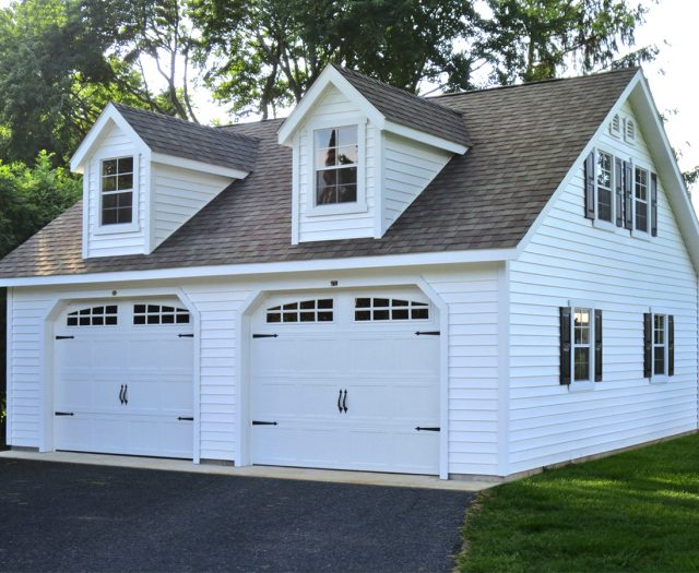 2 Story 2 Car A-Frame Garage White
