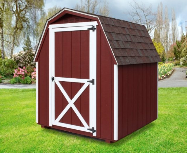 6 x 6 Mini Barn, Red, White Trim 4