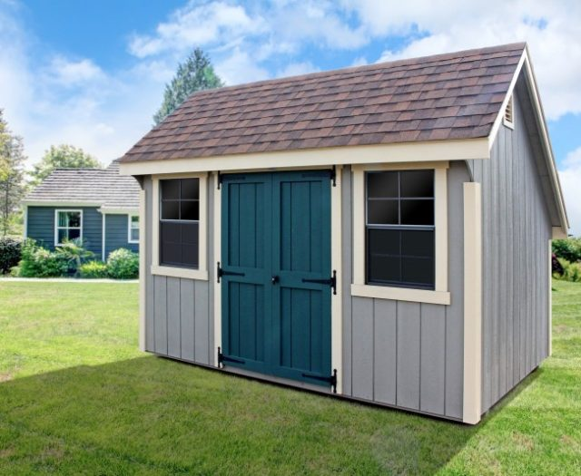 8 x 12 Garden Quaker Shed in Wood with Beige Siding and a Dark Brown Roof