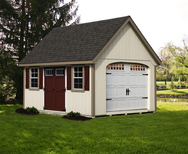AFrame Style Garage with Double Doors and Shutters in a Backyard