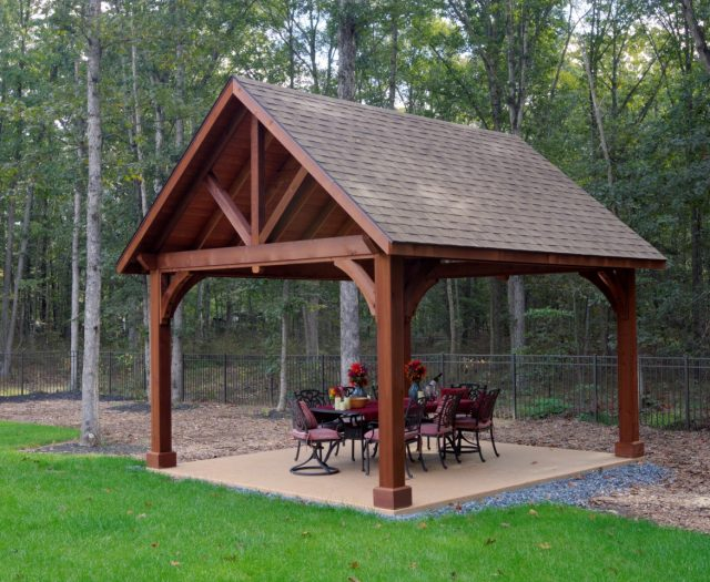 Alpine Cedar Wood Pavilion in Canyon Brown Stain with Asphalt Shingle