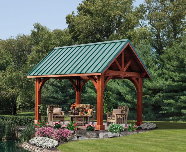 Apline Cedar Wood Free Standing Pavilion with Green Metal Roof
