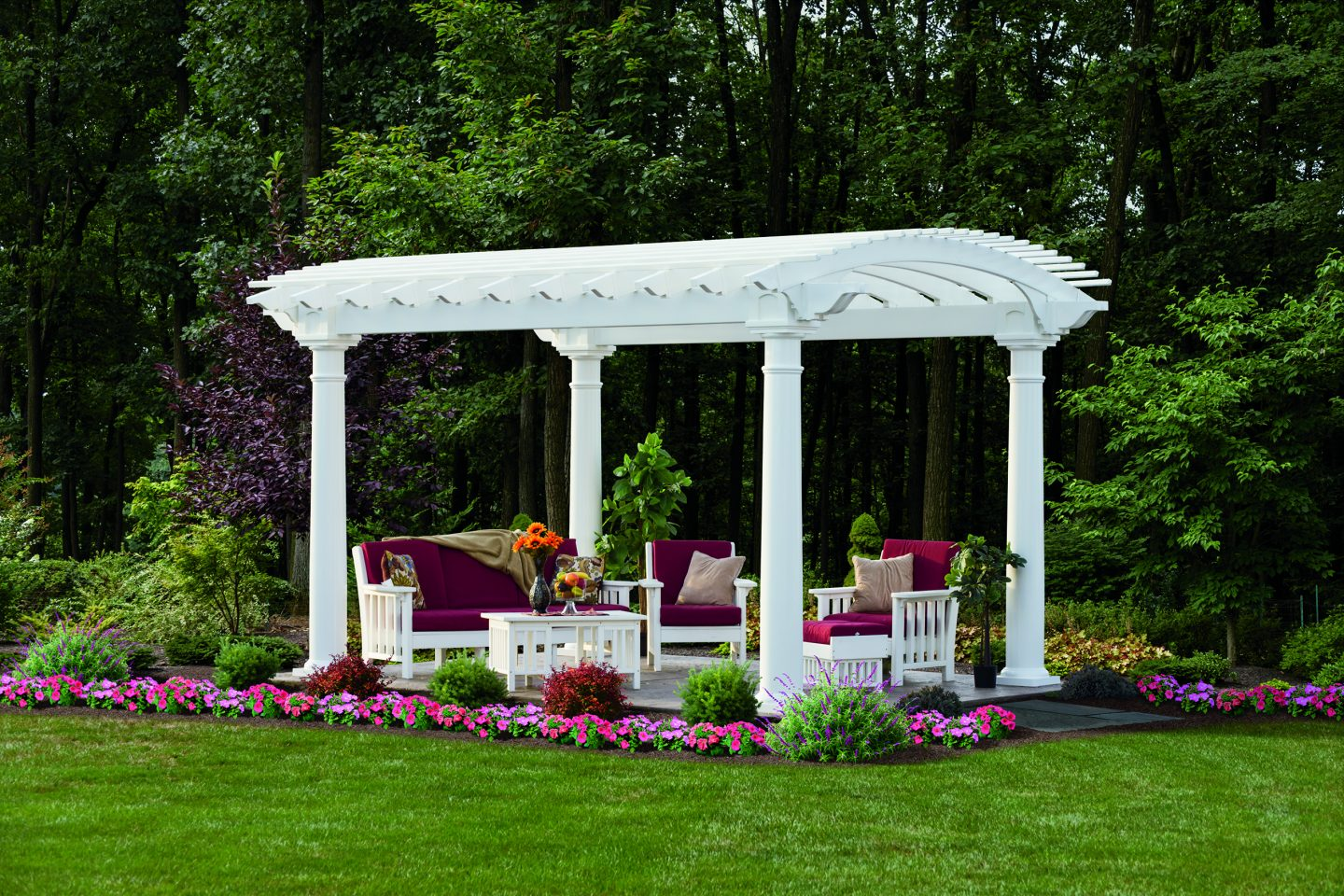 Arcadian Pergola White Vinyl in Backyard Outdoor Living Space