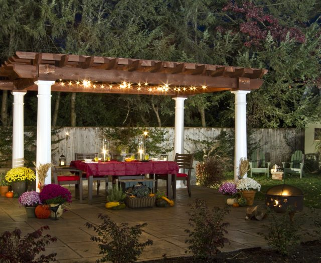 Artisan Pergola Wood Top with Vinyl Roung Posts Outdoor Dining and Entertaining