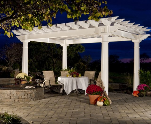 Artisan Vinyl Pergola Outdoor Dining Room at Night