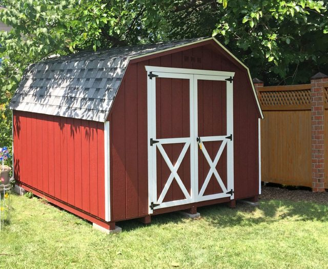 Backyard Mini Barn Red with White Trim