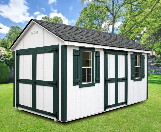 Backyard Storage Shed A-Frame Style White Wood with Green Shutters