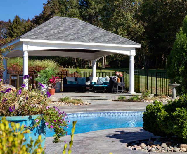 Backyard Vinyl Pavilion Hampton Sytle with Updated Headers Poolside with Living Room Furniture