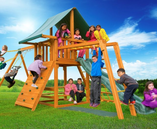 Dream Wood Swing Set with Picnic Table & Monkey Bars