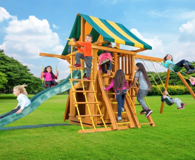 Dream Wood Swing Set with Bottom Clubhouse, Accessory Arm & Wooden Step Ladder