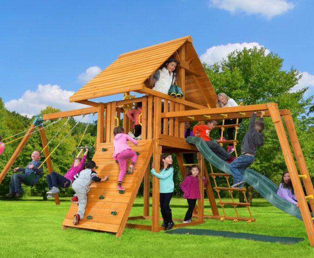 Dream Wood Swing Set with Wood Roof & Monkey Bars