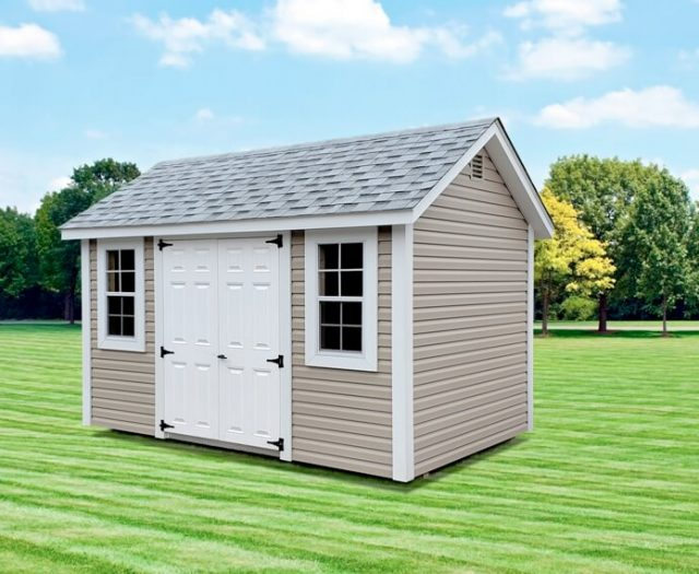 Elite A Frame Vinyl Shed in tan and grey