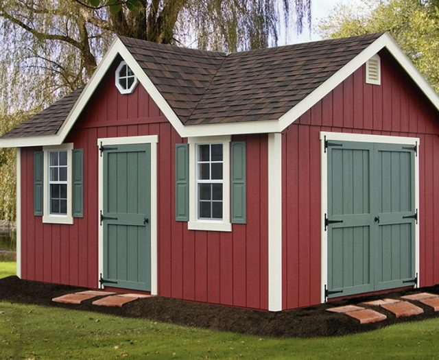 Fancy Red Storage Shed with Dormer Double Doors and Shutters