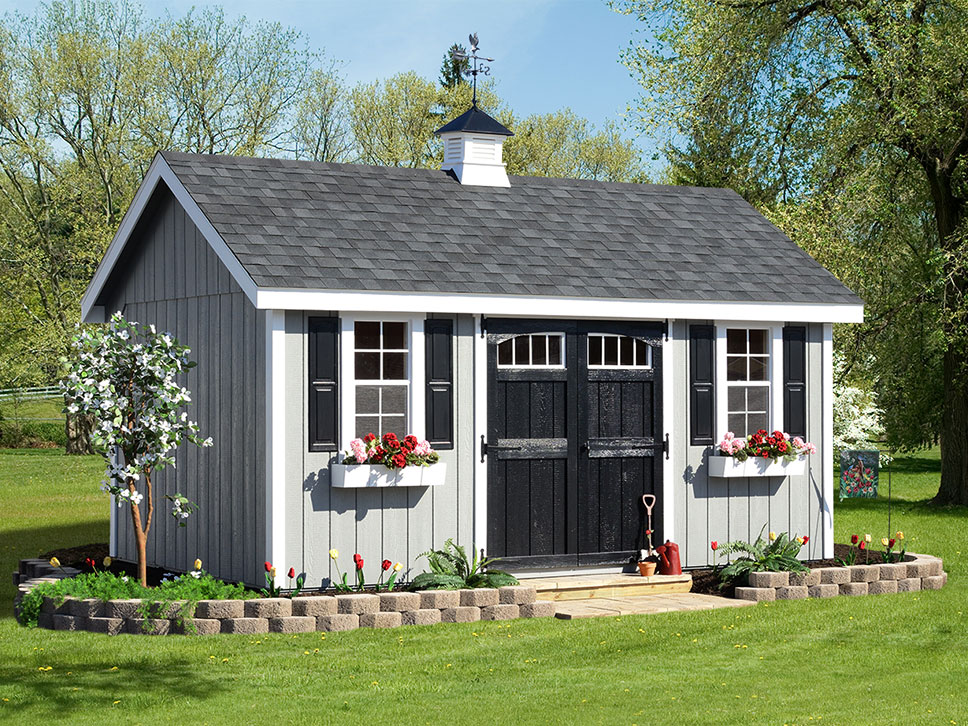 Fancy Wood Storage Building with Flower Boxes and Cupola
