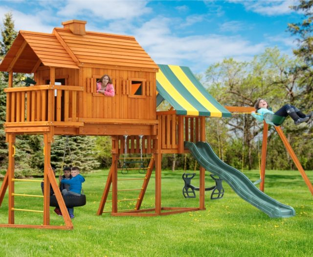 Fantasy Tree House Cabin Backyard Swing Set for Kids with Porch