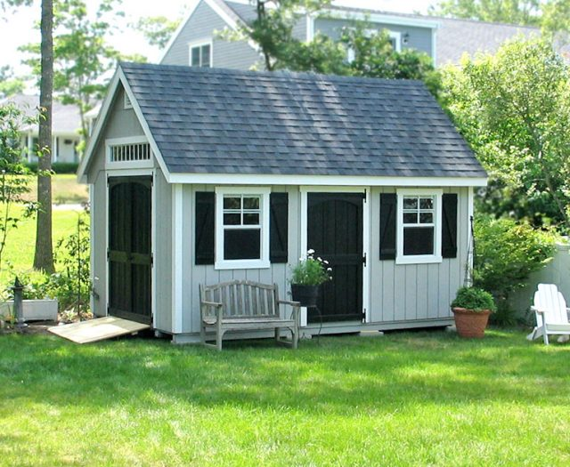 Garden A-Frame Storage Shed Decorative with Shutters and Transom Window