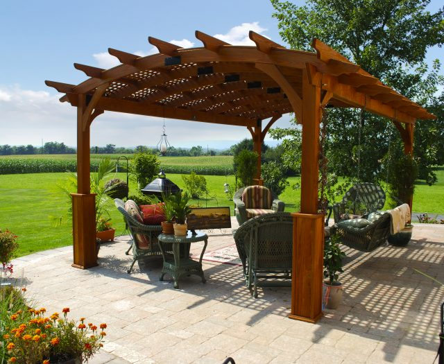 Hearthside Woode Pergola in a Backyard Outdoor Living Space