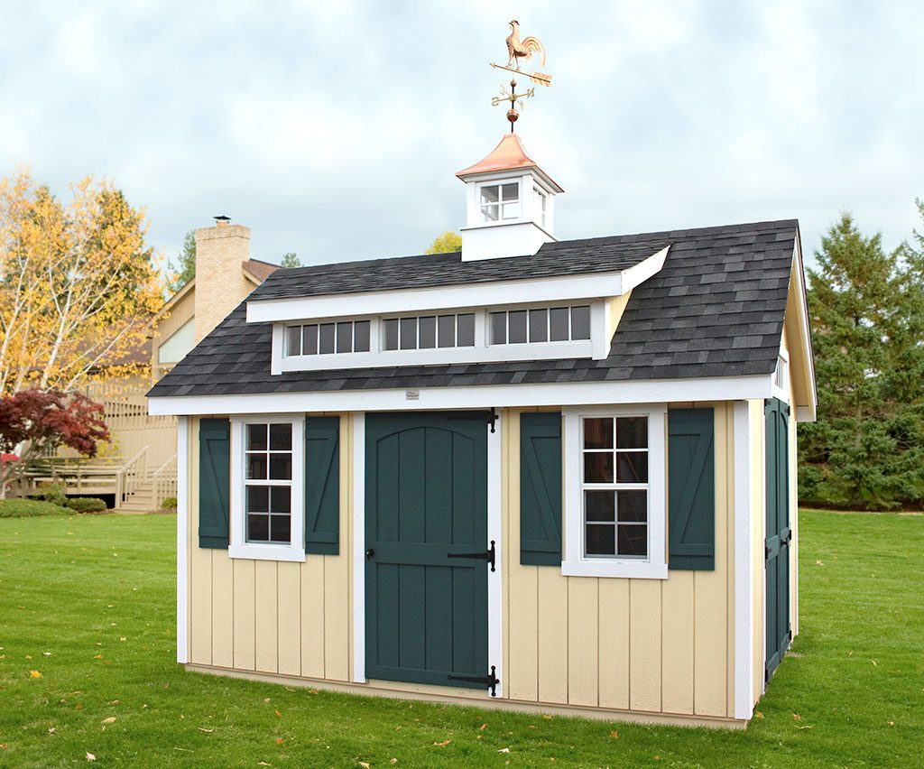 High Quality Wooden A-Frame Shed with Dormer Cupola and Weathervane