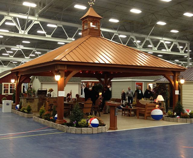Huge Wooden Pavilion Indoors with Lighting Cupola and Weathervane