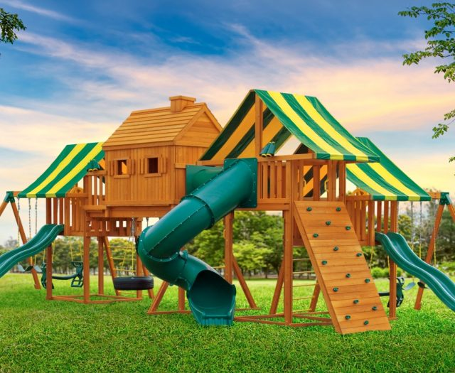 Imagination Huge Backyard Cedar Swing Set for Kids A